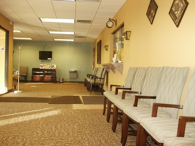 empty doctor office waiting room