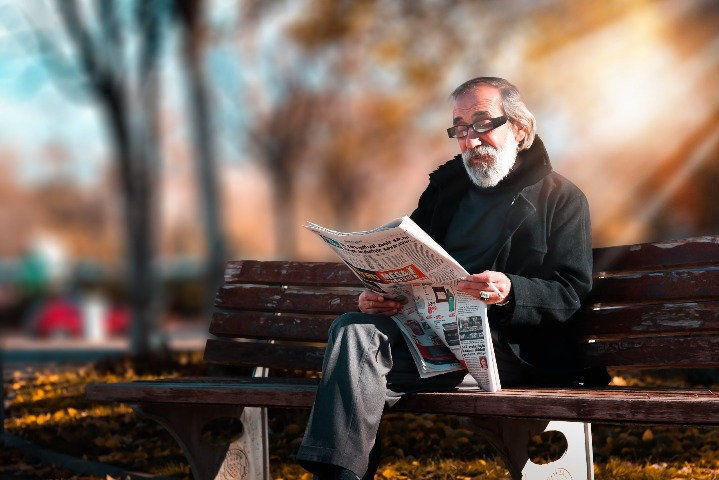 Elderly Man Reading in the Park